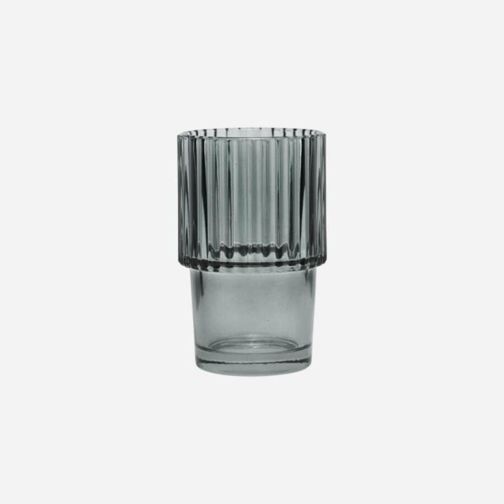 GLASS, RILLS, SMOKED GREY SET OF 4